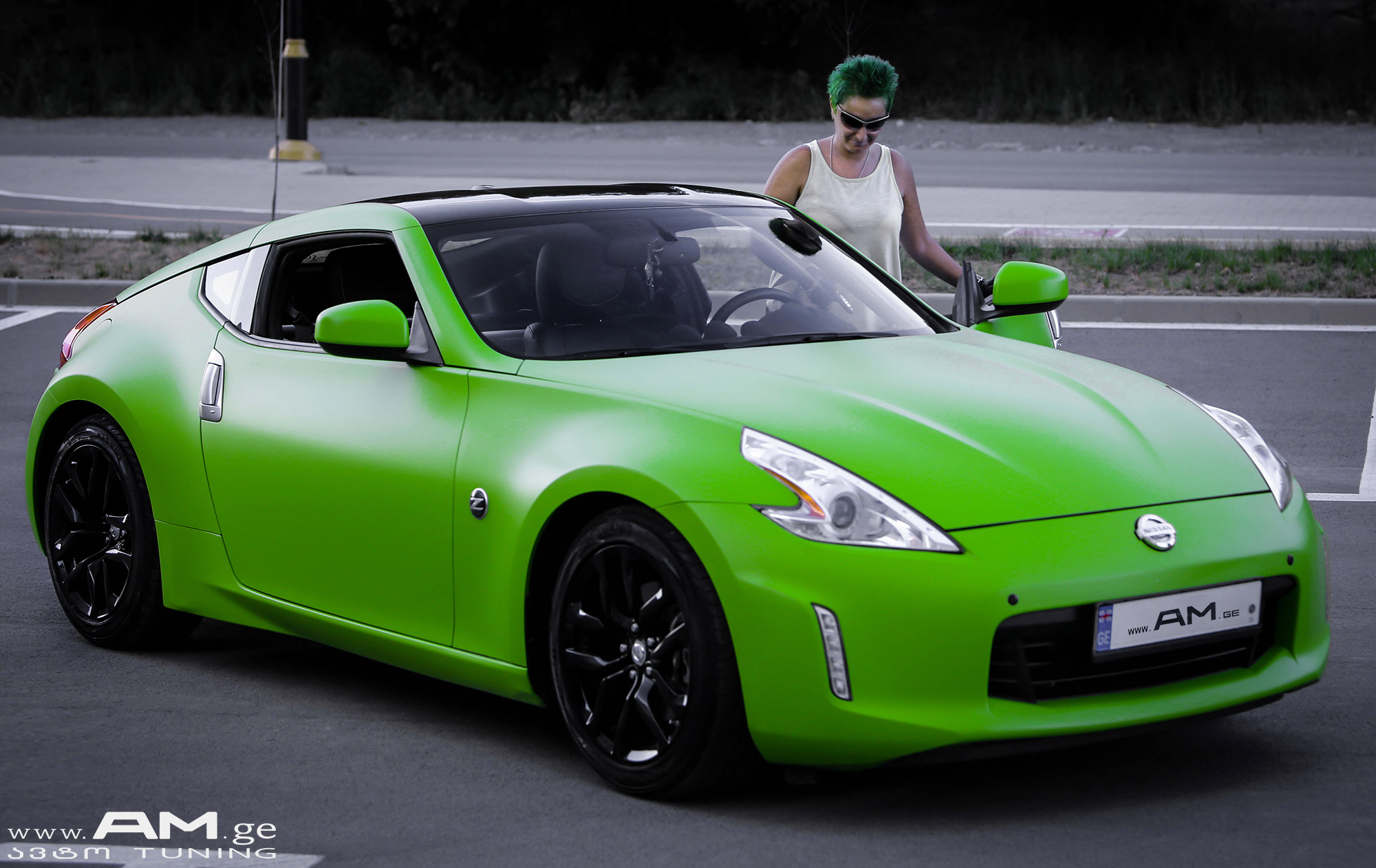 Nissan Z370 Green Car Wrapping Auto Am Ge